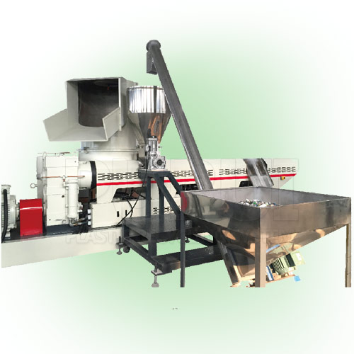 Single stage extruder for plastic pelletizing machine
