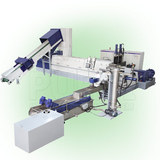 Two stage extruder for plastic pelletizing machine