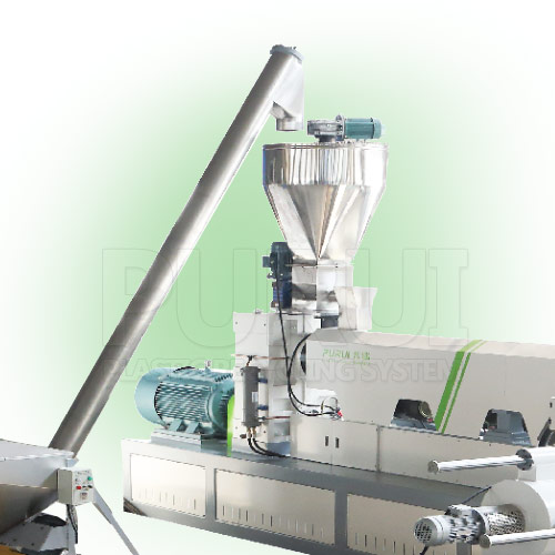 Hopper feeding extruder machine